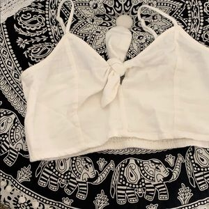 Aerie white crop tank top with bow